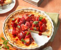 Ricotta-Tarte mit frischen Erdbeeren