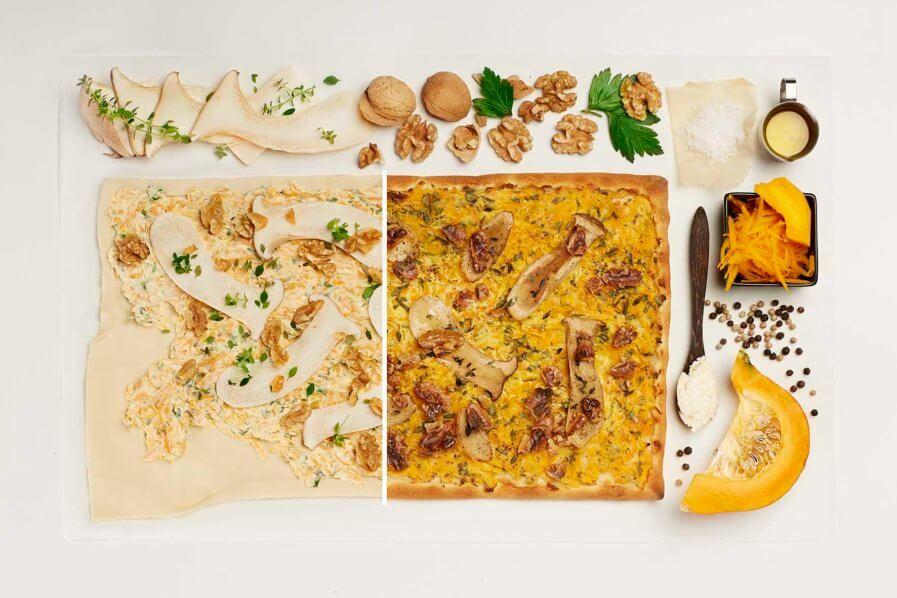 Kürbisflammkuchen mit Pilzen