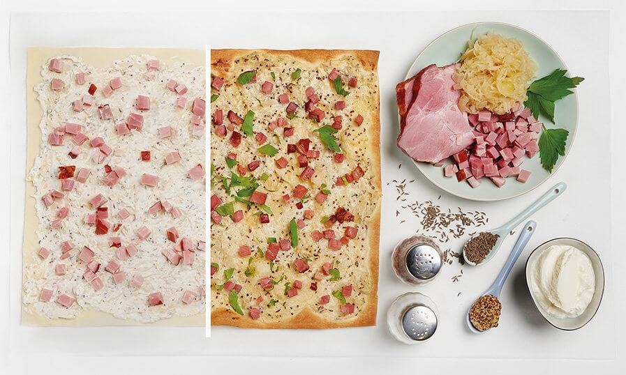 Rezept Flammkuchen mit Sauerkraut und Geselchtem Tante Fanny