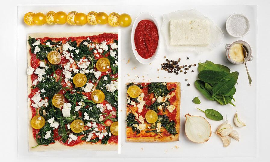 Rezept Pizza mit Spinat und Feta Tante Fanny