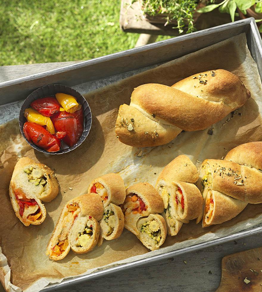Rezept Gemüsestriezel mit Grillpaprika und Zucchini Tante Fanny