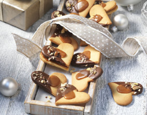 Karamellherzen mit Schokolade