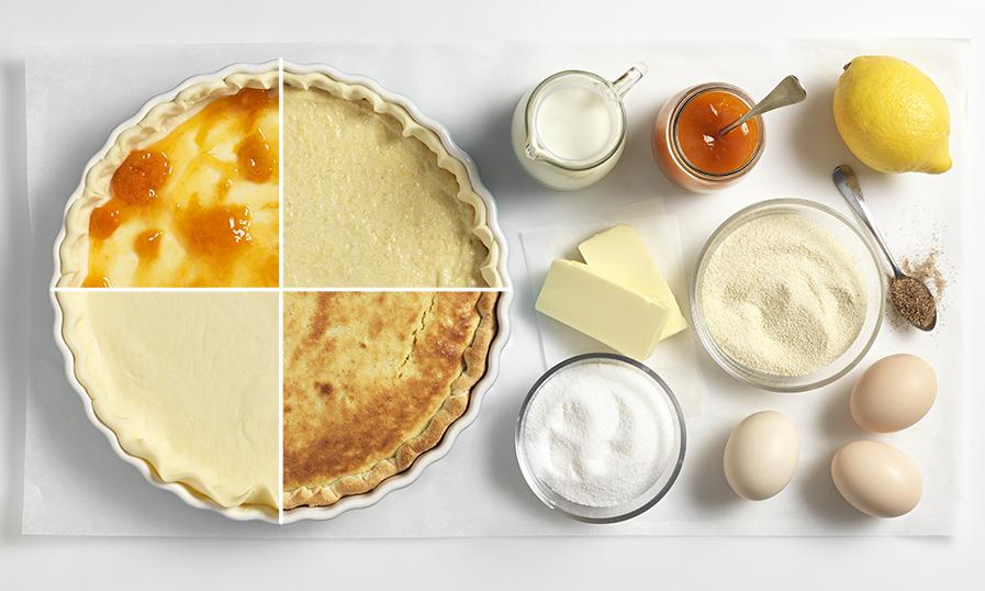 Ostergrießtarte mit Marillenmarmelade