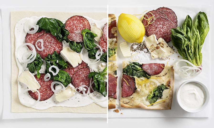 Flammkuchen mit Spinat und Salami