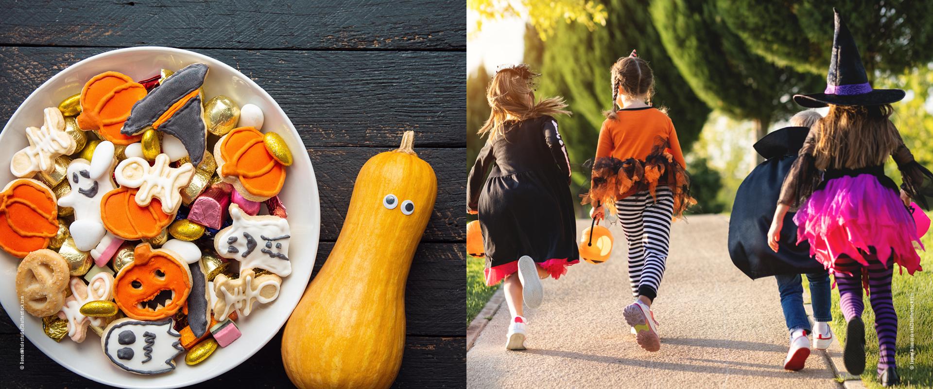Kinder sammeln Süßigkeiten zu Halloween