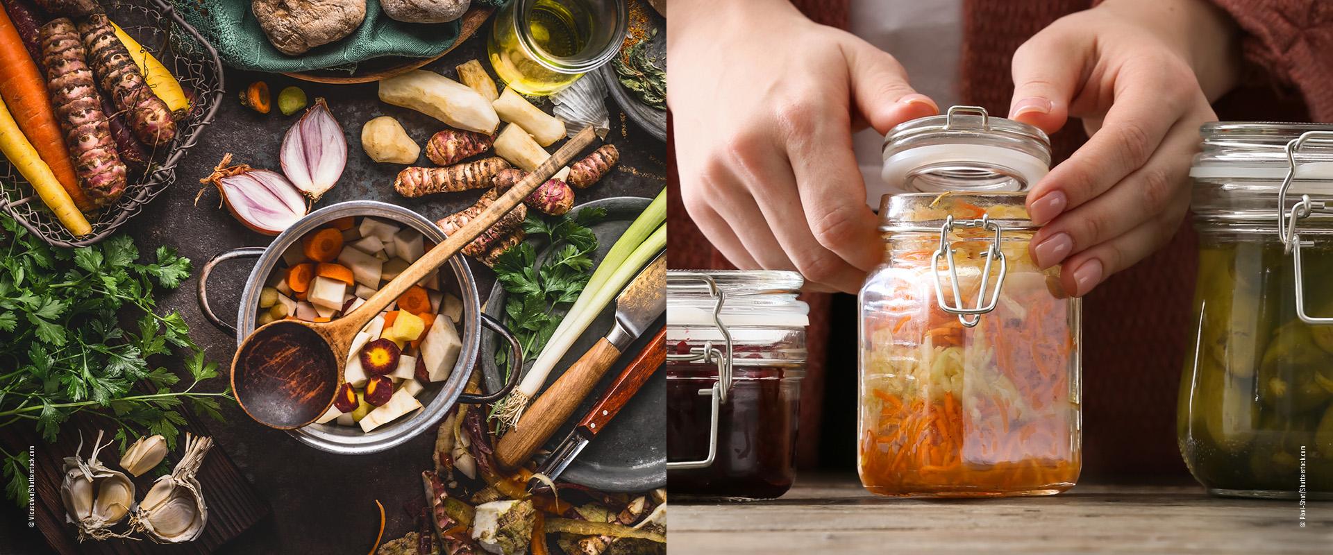 Knollen Gemüse kochen und fermentieren