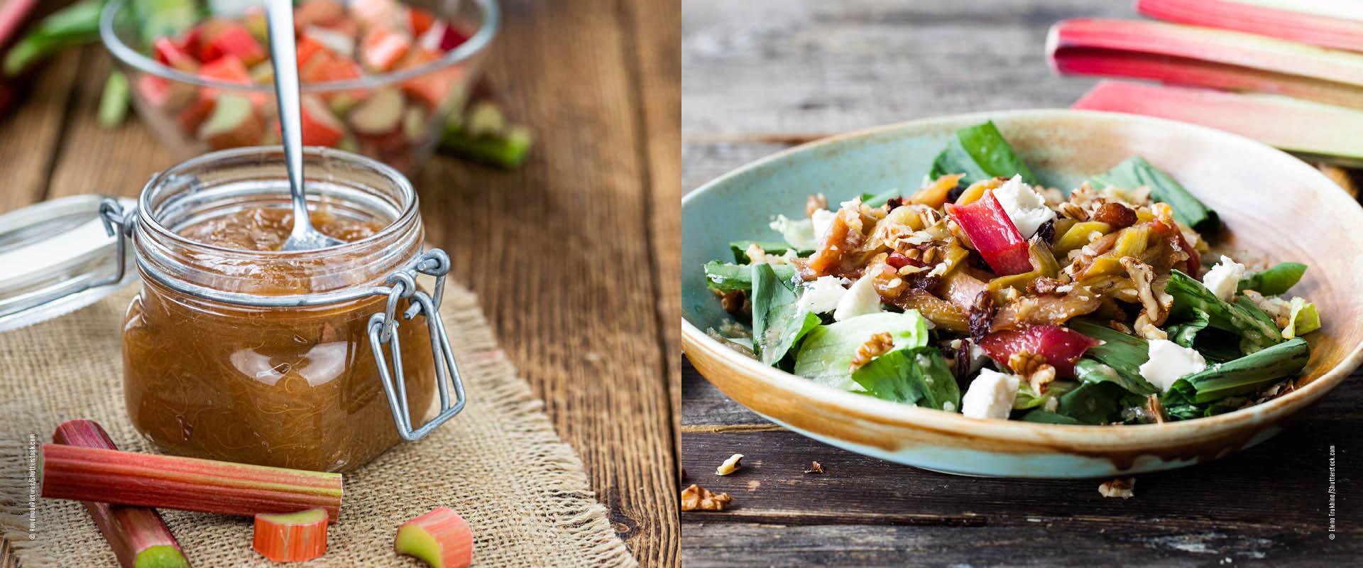 Salat mit Rhabarber und Marmelade