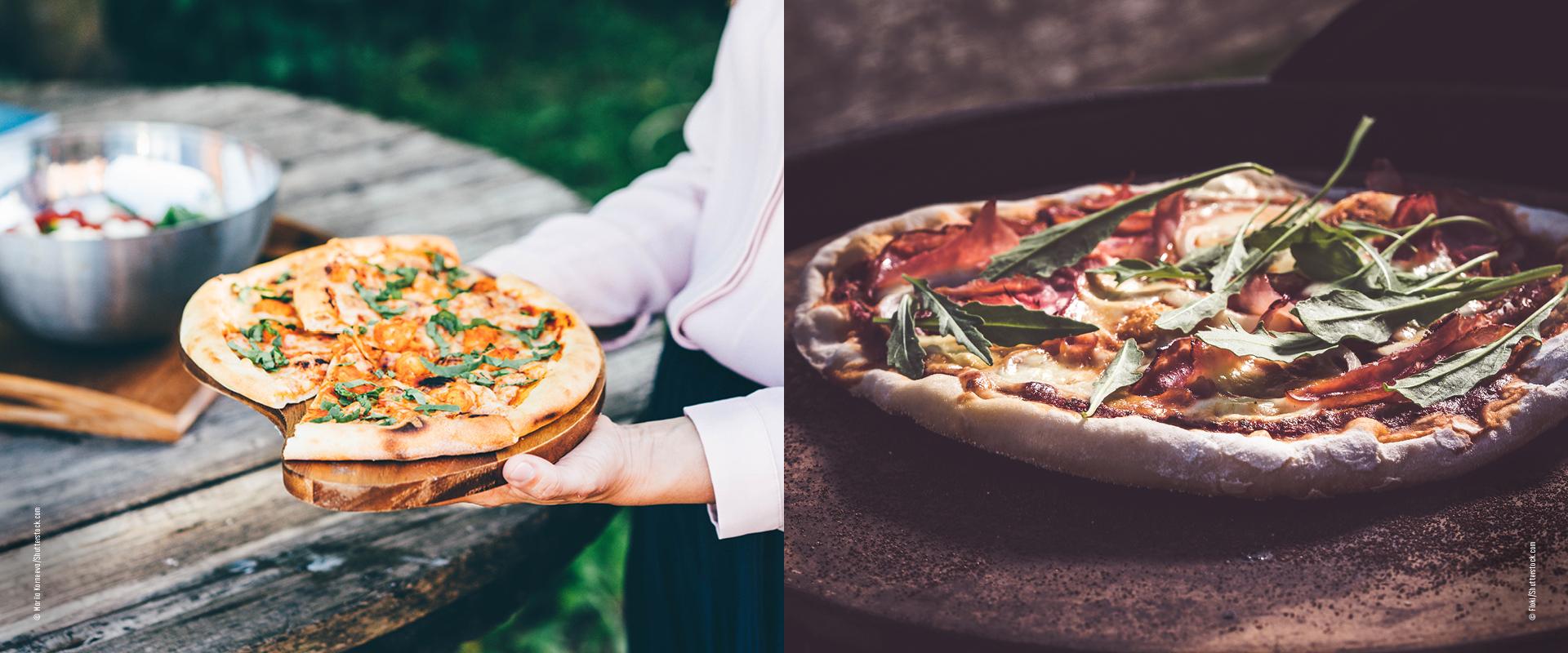 Pizza serviert im Garten