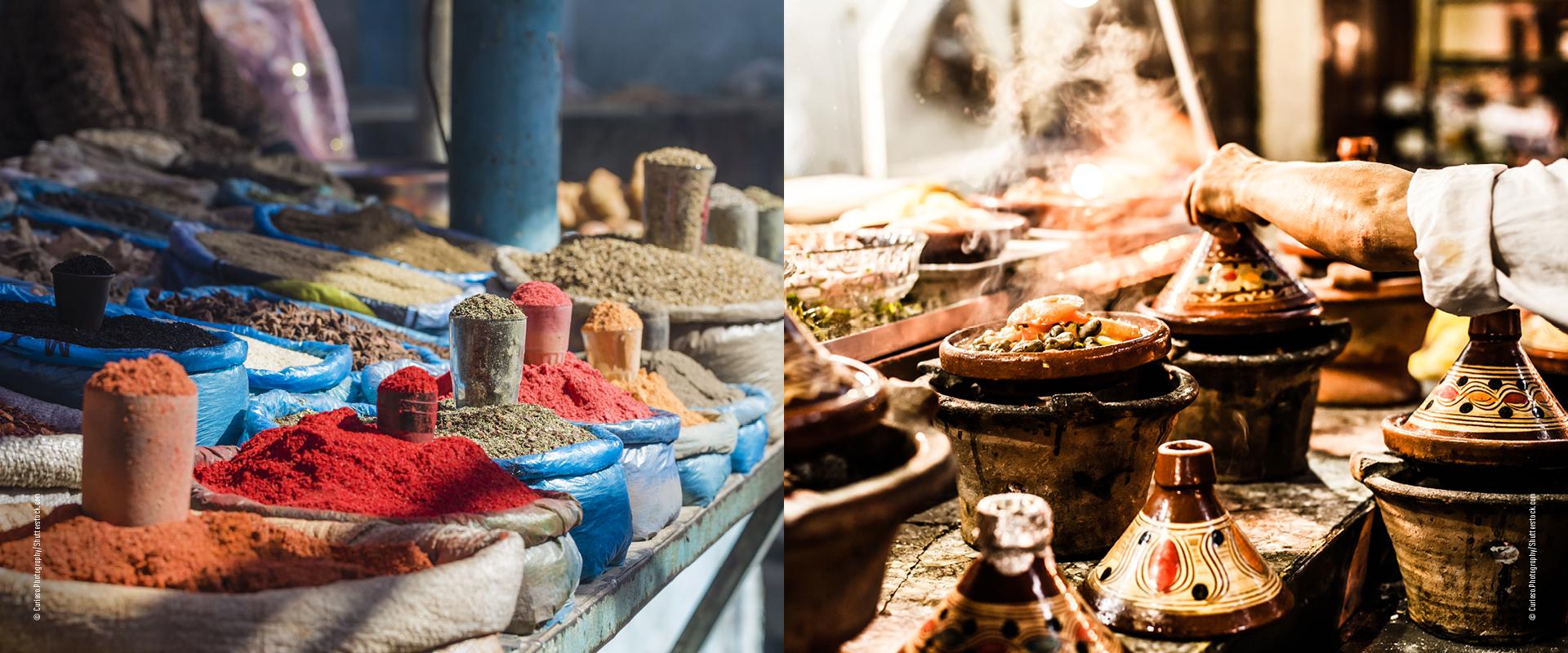 Gewürze und orientalisches Essen in der Tajine