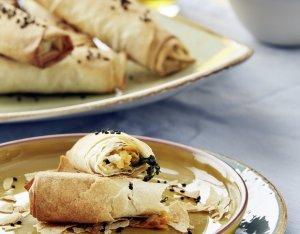 Börek mit Süßkartoffeln und Spinat
