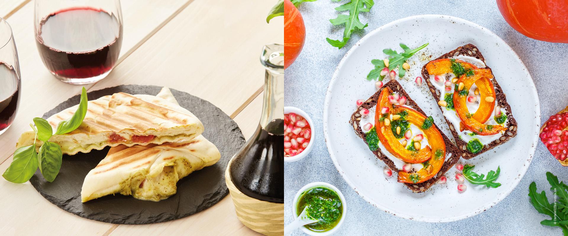 Saisonale Lunchbox Flammkuchen Toasty und Kürbis